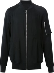 Rick Owens Embroidered Back Bomber Jacket Black