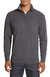 Men's Bugatchi Quarter Zip Merino Wool Sweater With Quilted Elbow Patches Charcoal