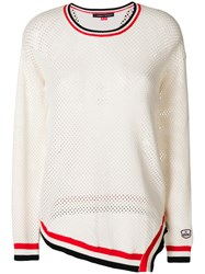 Perfect Moment Striped Mesh Sweat Nude And Neutrals