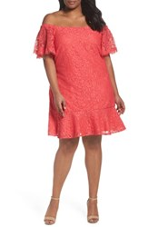 Eliza J Plus Size Women's Flutter Sleeve Off The Shoulder Dress Coral
