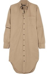 Bassike Cutout Cotton Shirt Dress Tan