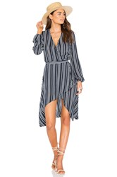 Finders Keepers Ira Wrap Dress Navy