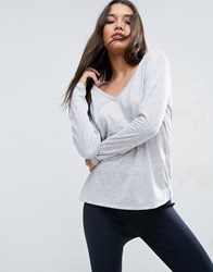 Asos V Neck Long Sleeve T Shirt In Linen Mix Grey Marl