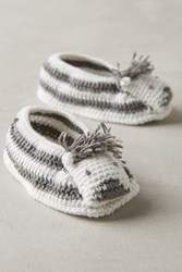 Anthropologie Crocheted Booties Zebra