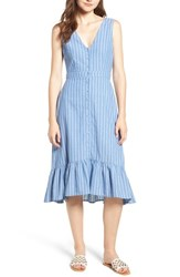 Lost Wander Dulce Stripe Ruffle Midi Dress Blue