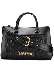 Love Moschino Logo Plaque Tote Bag Black