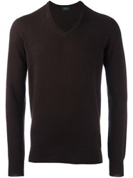 Zanone V Neck Jumper Brown