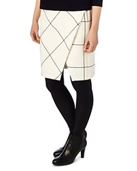Phase Eight Ginette Check Wrap Skirt Ivory Black