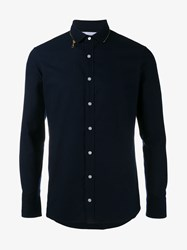 Kolor Zip Collar Shirt Navy Chocolate