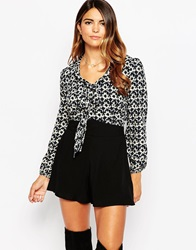 Ax Paris Playsuit With Wrap Front And Printed Top Multi