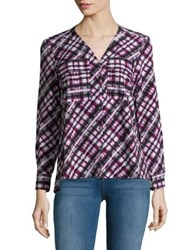 Jones New York Abstract Print Blouse Cranberry