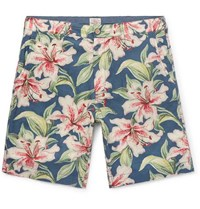 Faherty Slim Fit Floral Print Linen Blend Shorts Blue