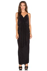 Misa Los Angeles Domino Tie Front Maxi Dress Black