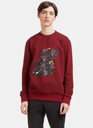 Lanvin Printed Graphic Crew Neck Sweater Burgundy