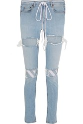 Off White Embroidered Distressed Mid Rise Skinny Jeans Light Denim