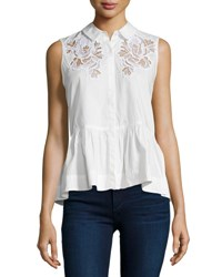 Rebecca Taylor Embroidered Sleeveless Peplum Top Snow