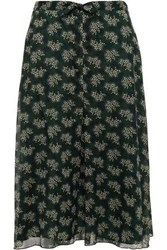 Anna Sui Woman Knotted Printed Georgette Skirt Forest Green