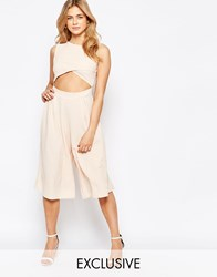 Love Cut Out Front Wide Leg Culotte Jumpsuit Nude