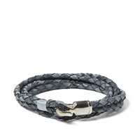 Miansai Trice Silver Woven Leather Bracelet Antique Grey