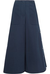 Sonia Rykiel Embellished Cotton Blend Twill Wide Leg Pants Navy