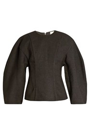 A.W.A.K.E. Exaggerated Dolman Sleeved Twill Top Black