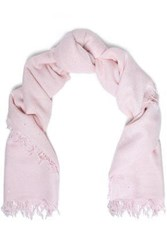 Chan Luu Woman Frayed Sequin Embellished Cashmere And Silk Blend Scarf Baby Pink