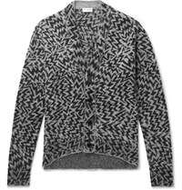 Saint Laurent Wool Blend Jacquard Cardigan Gray