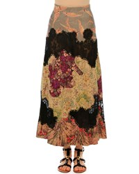 Valentino Patchwork Suede A Line Maxi Skirt Multi Colors Multi Patch
