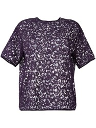 Rochas Lace Semi Sheer Blouse Pink Purple
