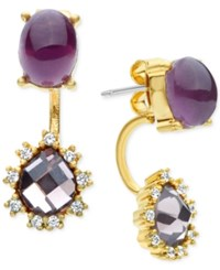 Lonna And Lilly Stone Crystal Front Back Earrings Purple Gold
