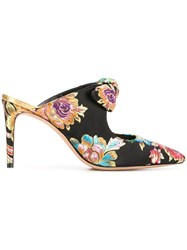 Alexandre Birman Floral Embroidered Mules Black