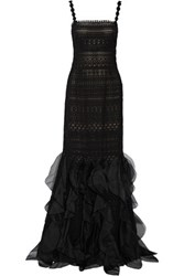 Oscar De La Renta Silk Organza Trimmed Cotton Blend Guipure Lace Gown Black