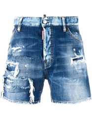 Dsquared2 Distressed Wide Leg Shorts Blue