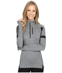 The North Face Impulse Active 1 4 Zip Pullover Tnf Medium Grey Heather Tnf Black Women's Long Sleeve Pullover Gray