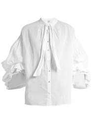 Thierry Colson Floral Embroidered Tie Neck Cotton Lawn Blouse White