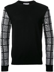 Wooyoungmi Checked Sleeve Jumper Black