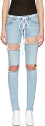 Off White Blue Diagonal Ripped Skinny Jeans
