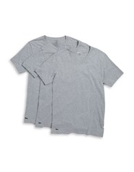 Lacoste Slim Fit Cotton V Neck Tee Set Of 3 Grey