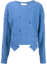 Stella Mccartney Distressed Cable Knit Jumper Blue