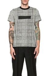 Kris Van Assche Transfer Print Cotton Tee In Gray Black Checkered And Plaid