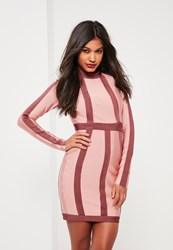 Missguided Pink Bandage Contrast Long Sleeve Bodycon Dress