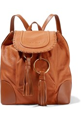 See By Chloe Polly Tasseled Textured Leather Backpack Camel