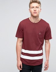 Ringspun Baseball Pocket T Shirt With Curved Hnem Red