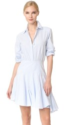 Grey Jason Wu Long Sleeve Stripe Asymmetrical Dress Baby Blue Multi
