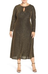 London Times Plus Size Women's Metallic Knit Midi Dress
