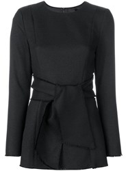 Misha Collection Tied Waist Long Sleeved Top Black