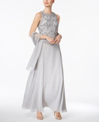 J Kara Illusion 2 Pc. Sequined Gown With Shawl Silver