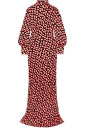 Rebecca Vallance Hotel Beau Tie Detailed Printed Crepe Maxi Dress Red