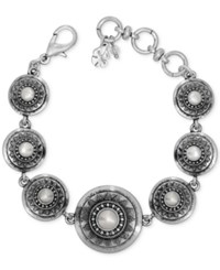 Lucky Brand Silver Tone Imitation Pearl Star Disc Link Bracelet