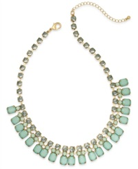 Bar Iii Gold Tone Mint Stone And Crystal Frontal Necklace